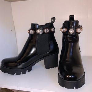 Chunky heel faux leather belted boots